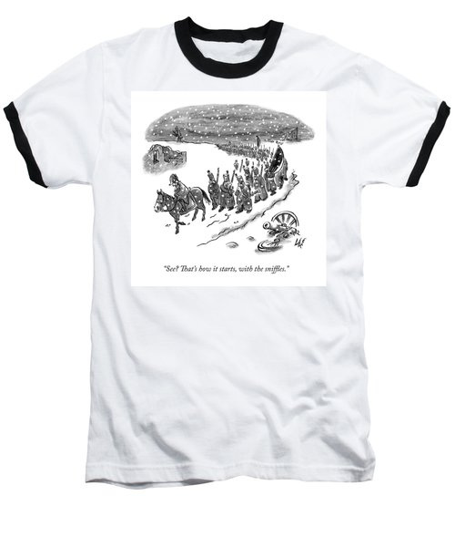 An Army Of Napoleonic Soldiers Walk Home Though Baseball T-Shirt