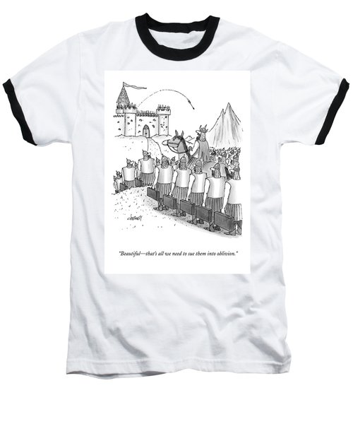An Army Of Vikings Hold Briefcases Baseball T-Shirt