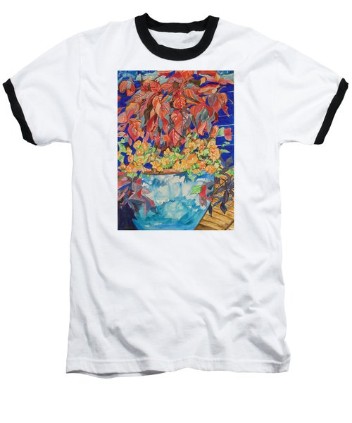 Baseball T-Shirt featuring the painting An Autumn Floral by Esther Newman-Cohen