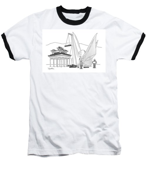 An Enormous Origami Crane Lifts Wood Baseball T-Shirt