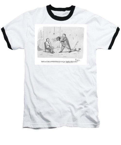 An Interrogation Officer Points A Small Fan Baseball T-Shirt