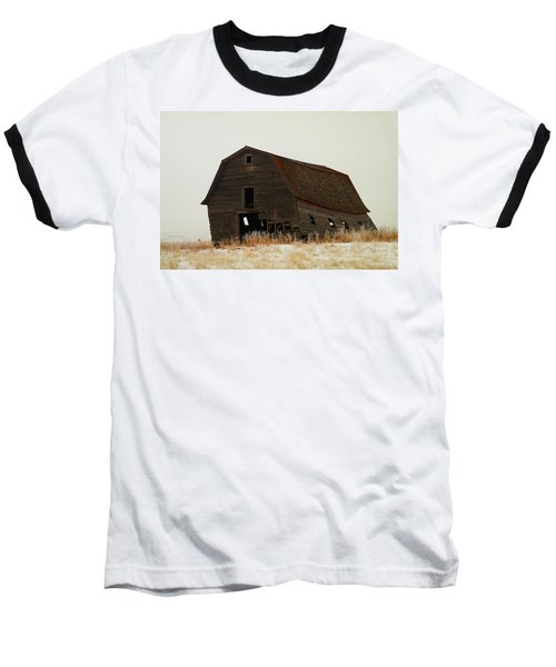 An Old Leaning Barn In North Dakota Baseball T-Shirt by Jeff Swan
