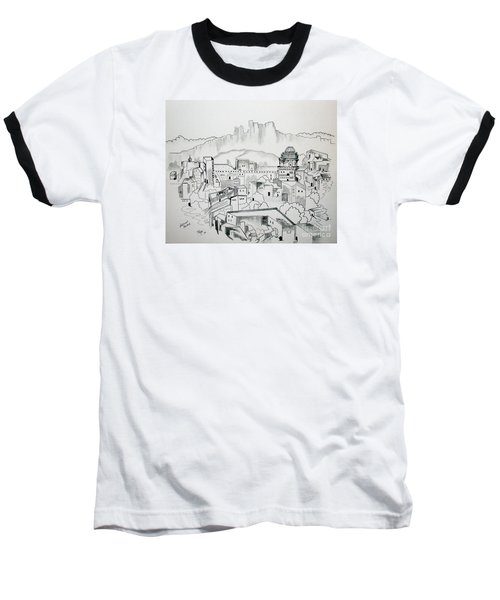 Baseball T-Shirt featuring the drawing Ancient City In Pen And Ink by Janice Rae Pariza