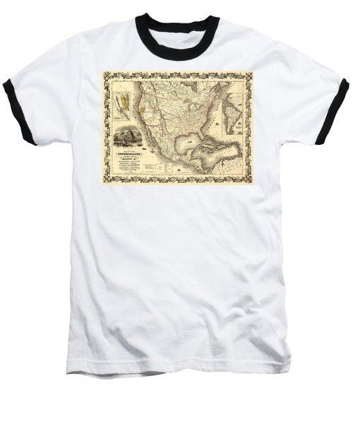 Antique North America Map Baseball T-Shirt