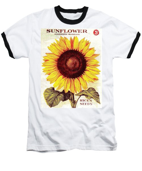 Antique Sunflower Seeds Pack Baseball T-Shirt by Peter Gumaer Ogden