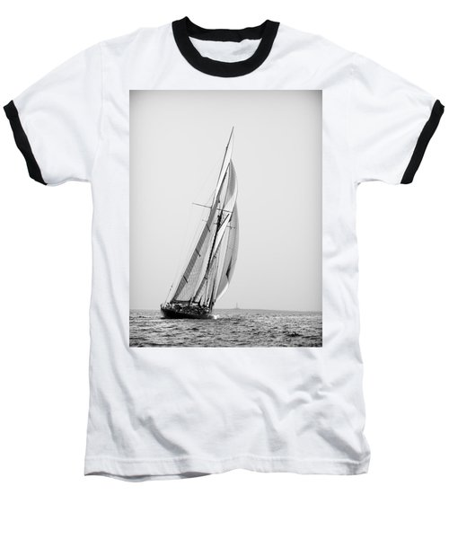 A Tall Ship In Mediterranean Water Approaching To Lighthouse Of Isla Del Aire - Menorca Baseball T-Shirt