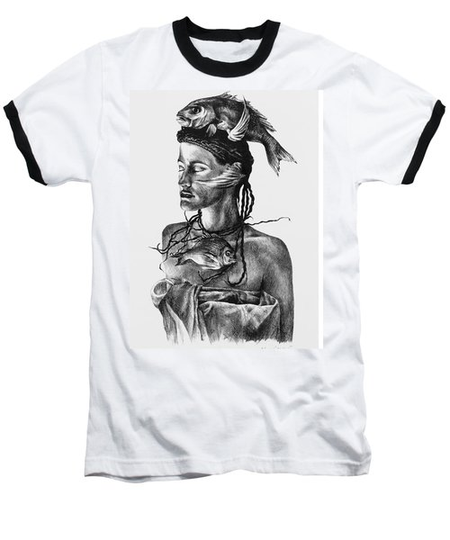 Aqua Baseball T-Shirt by Yvonne Wright