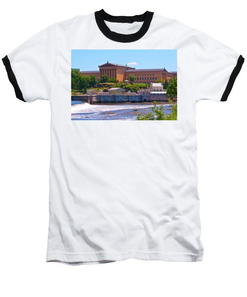 Art Museum And Fairmount Waterworks - Hdr Baseball T-Shirt by Lou Ford