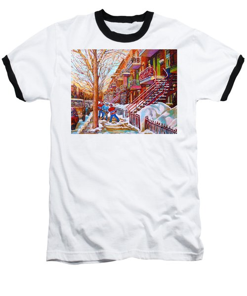 Art Of Montreal Staircases In Winter Street Hockey Game City Streetscenes By Carole Spandau Baseball T-Shirt