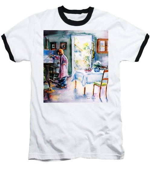 Baseball T-Shirt featuring the painting Artist At Work In Summer  by Trudi Doyle