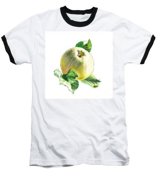 Baseball T-Shirt featuring the painting Artz Vitamins Series A Happy Green Apple by Irina Sztukowski