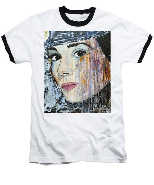 Baseball T-Shirt featuring the painting Audrey Hepburn-abstract by Ismeta Gruenwald