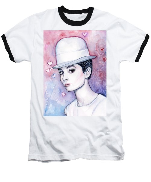 Audrey Hepburn Fashion Watercolor Baseball T-Shirt