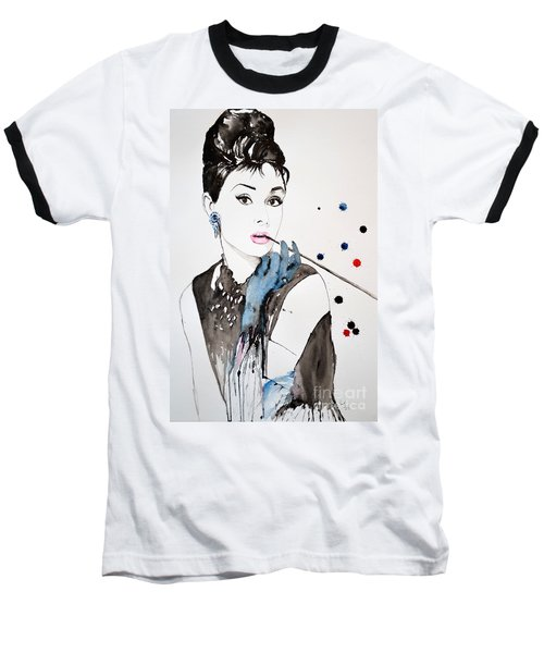Baseball T-Shirt featuring the painting Audrey Hepburn by Ismeta Gruenwald