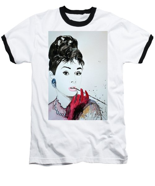 Baseball T-Shirt featuring the painting Audrey Hepburn - Original by Ismeta Gruenwald