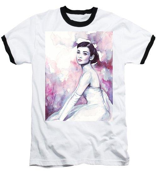 Audrey Hepburn Purple Watercolor Portrait Baseball T-Shirt by Olga Shvartsur