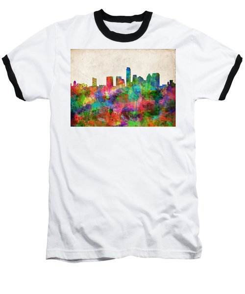 Austin Texas Abstract Panorama 4 Baseball T-Shirt