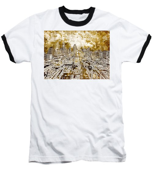 Austin Texas Abstract Panorama 6 Baseball T-Shirt