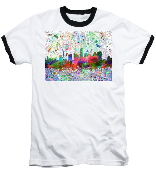 Austin Texas Abstract Panorama 7 Baseball T-Shirt