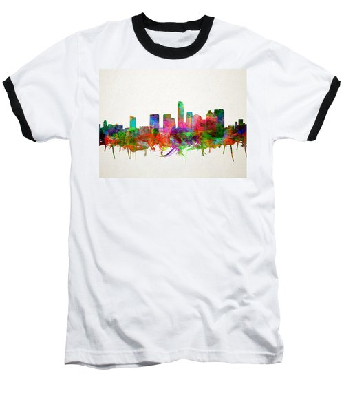 Austin Texas Skyline Watercolor Baseball T-Shirt