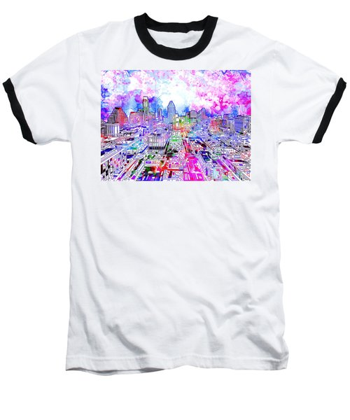 Austin Texas Watercolor Panorama Baseball T-Shirt
