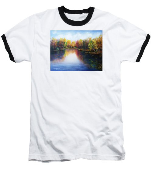 Baseball T-Shirt featuring the painting Autumn Reflections  by Vesna Martinjak