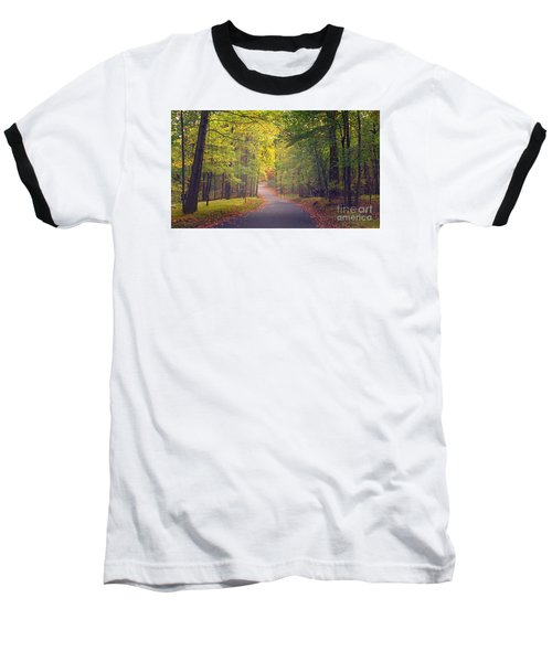 Baseball T-Shirt featuring the photograph Autumn Road by Rima Biswas