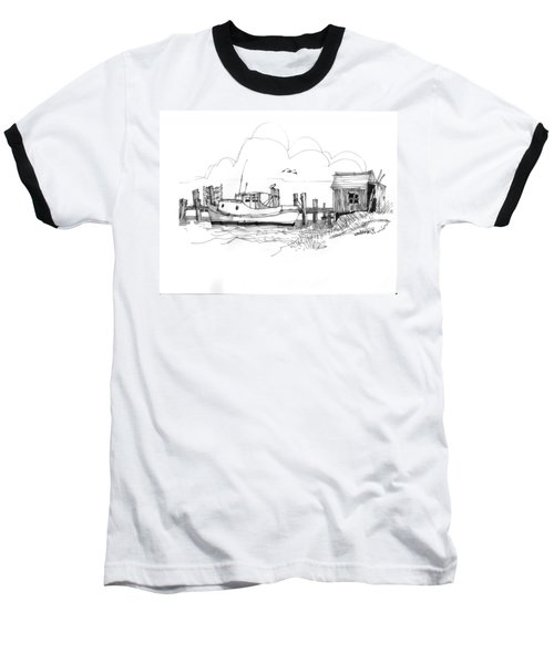 Awaiting Bluefish Run Ocracoke Nc 1970s Baseball T-Shirt