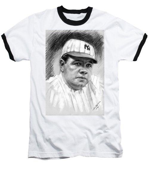 Baseball T-Shirt featuring the drawing Babe Ruth by Viola El