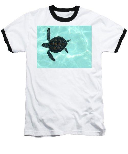 Baby Sea Turtle Baseball T-Shirt by Ellen Henneke