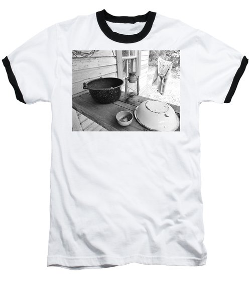 Back In Time B - W Baseball T-Shirt by D Hackett