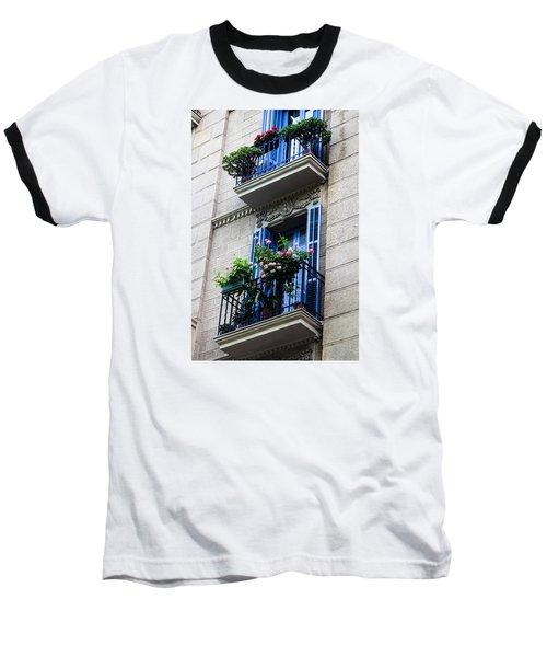 Balconies In Bloom Baseball T-Shirt by Menachem Ganon