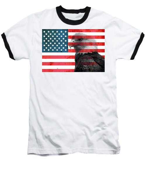 Bald Eagle American Flag Baseball T-Shirt by Dan Sproul