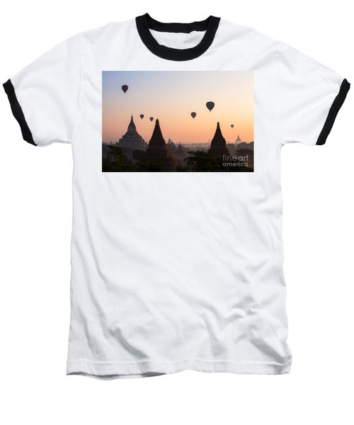 Ballons Over The Temples Of Bagan At Sunrise - Myanmar Baseball T-Shirt
