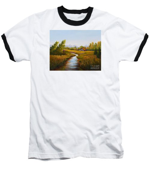 Barn And Stream Baseball T-Shirt