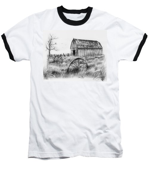Barn With Crows Baseball T-Shirt by Lena Auxier