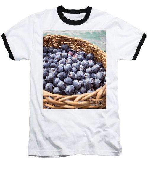 Basket Of Fresh Picked Blueberries Baseball T-Shirt by Edward Fielding