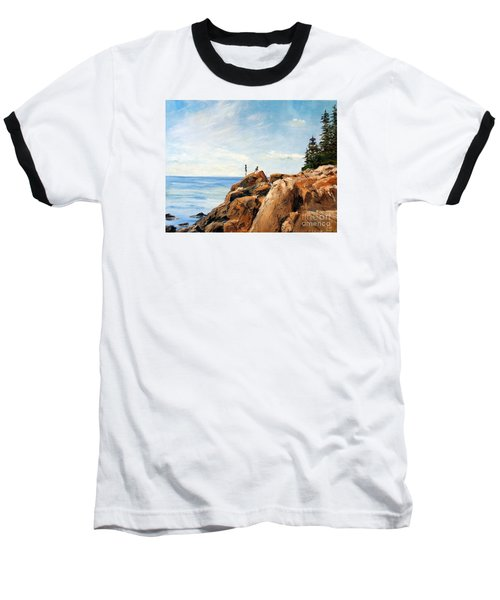 Baseball T-Shirt featuring the painting Bass Harbor Rocks by Lee Piper