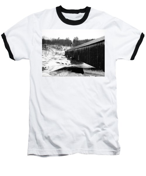 Bath Covered Bridge Baseball T-Shirt by Barbara Bardzik