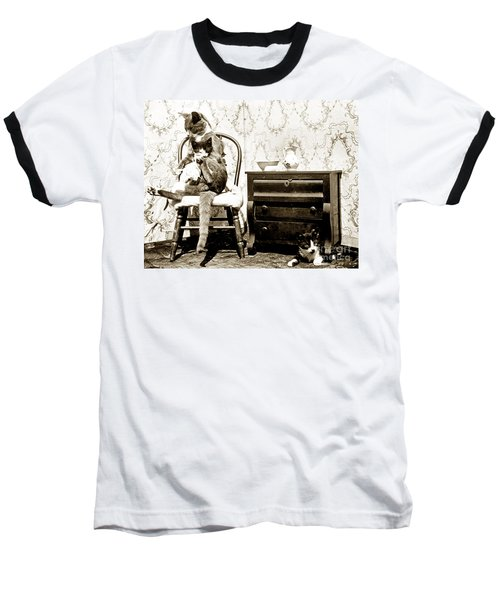Baseball T-Shirt featuring the photograph Bath Time For Kitty Circa 1900 Historical Photos by California Views Mr Pat Hathaway Archives