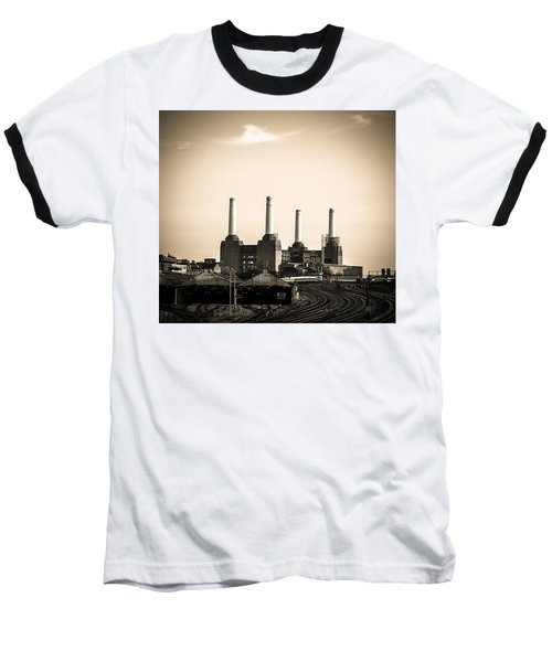 Battersea Power Station With Train Tracks Baseball T-Shirt
