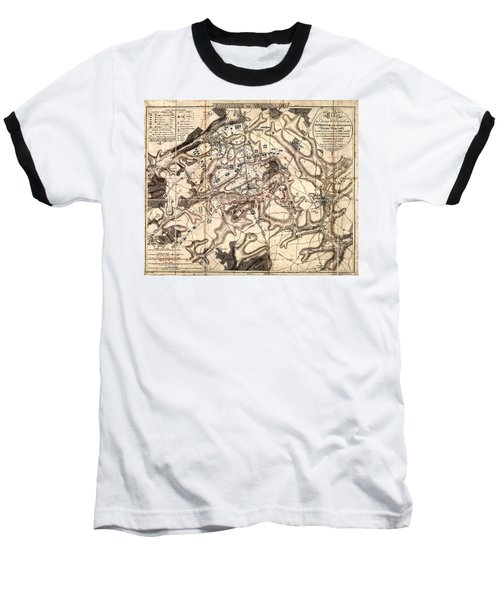 Battle Of Waterloo Old Map Baseball T-Shirt
