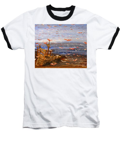 Beach Boat And Birds Baseball T-Shirt