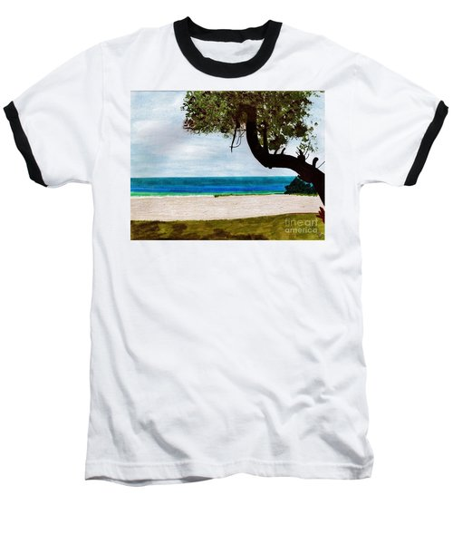 Baseball T-Shirt featuring the drawing Beach Side by D Hackett