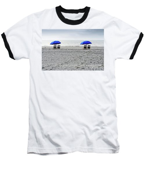 Beach Umbrellas On A Cloudy Day Baseball T-Shirt