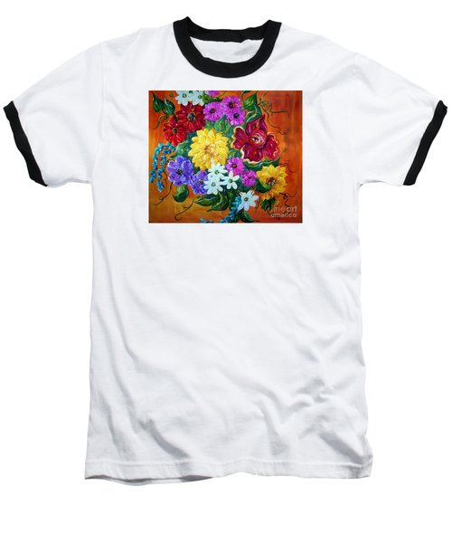 Baseball T-Shirt featuring the painting Beauties In Bloom by Eloise Schneider