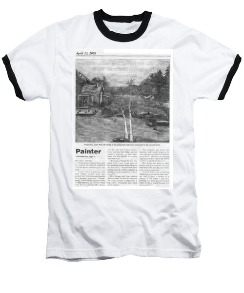 Baseball T-Shirt featuring the painting Beaver Pond - Article - Mary Krupa by Bernadette Krupa