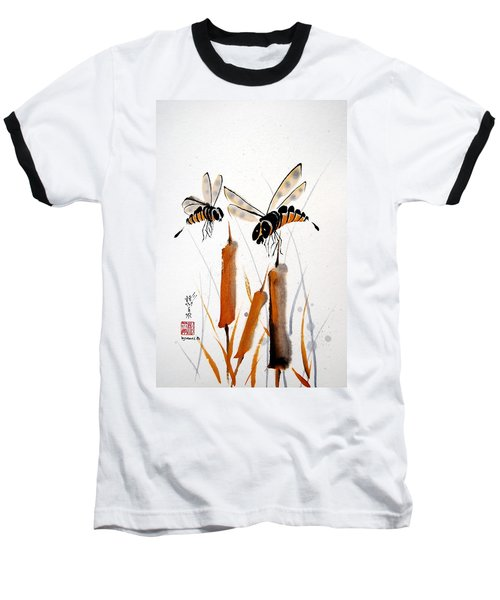Baseball T-Shirt featuring the painting Bee-ing Present by Bill Searle