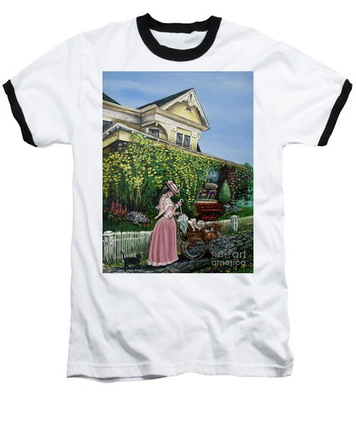 Behind The Garden Gate Baseball T-Shirt by Linda Simon