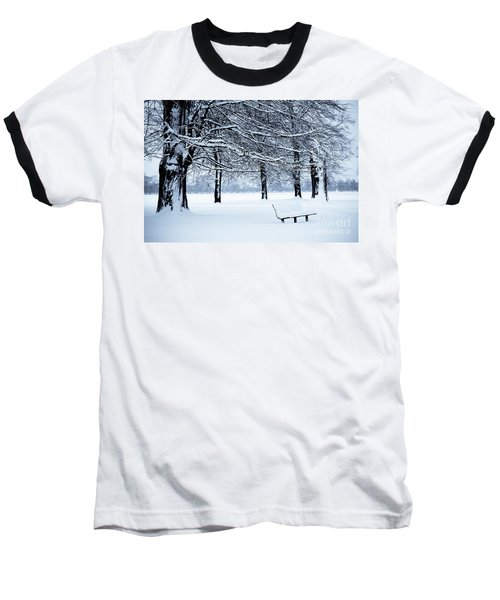 Bench In Snow Baseball T-Shirt